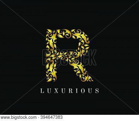 Golden R Luxury Logo Icon, Elegant R Letter Logo Design.