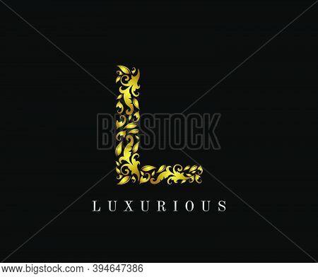 Golden L Luxury Logo Icon, Elegant L Letter Logo Design.