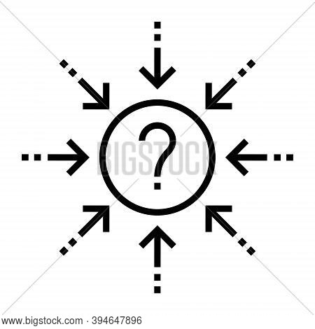 Problem Understanding And Solvind Sign. Question Mind With Multiple Arrows Icon. Comprehensible Sign
