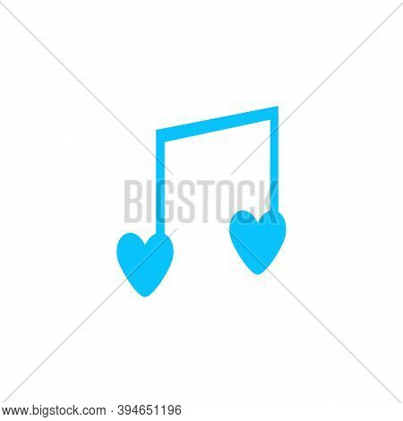 I Love Music Icon Flat. Blue Pictogram On White Background. Vector Illustration Symbol