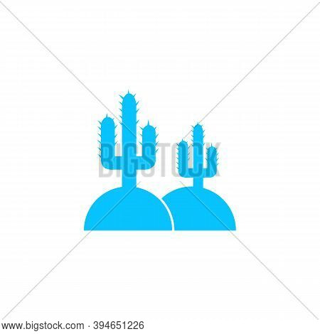 Cactus In Desert Icon Flat. Blue Pictogram On White Background. Vector Illustration Symbol