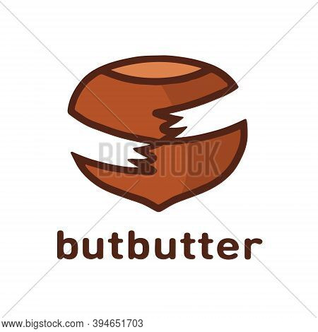 Vector Illustration On The Theme Of The Logo For Walnut Nut In Shell, Half Of The Peeled Walnut Kern