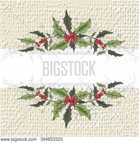 Vector Flower Banner With Space For Text. Element Of Winter Decor. An Isolated Element Of Decoration