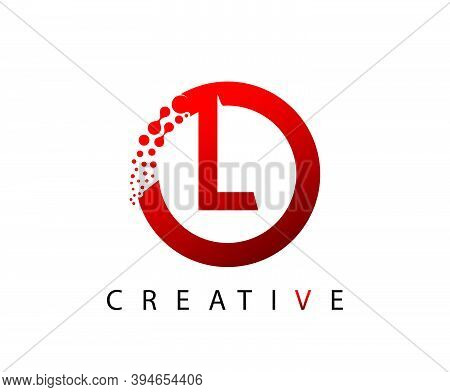 Circle L Letter Digital Network , Abstract L Dotted Logo Design.