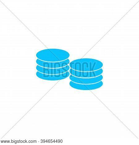 Penny Icon Flat. Blue Pictogram On White Background. Vector Illustration Symbol