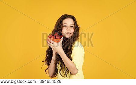 Child Eating Strawberry. Healthy Breakfast. Vitamin Concept. Summer Berries. Dessert Sweet Food. Buy