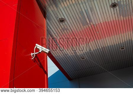 Cctv Camera For Industrial Security Installed On The Wall