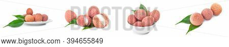 Collage Of Litchi Isolated On A White Background