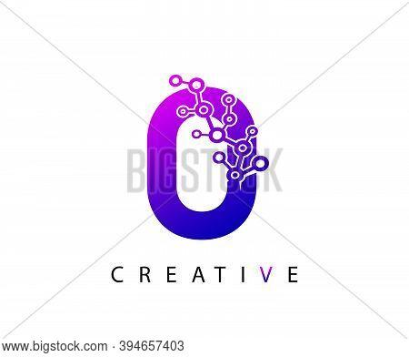 Abstract O Letter , Modern O Dot Technology Logo Design.
