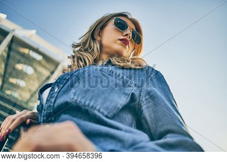 Outdoor Fashion Portrait Of Young Happy Pretty Smiling Woman Wear Stylish Street Style Outfit Trendy
