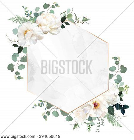 Ivory Beige Rose, White Peony, Ranunculus Flowers, Sage Green Eucalyptus, Vector Design Marble Frame