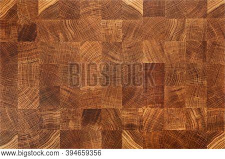 Vector Illustration Of Oak Wooden Butcher Chopping Block, Natural Durable End Grain Hard Wood Board