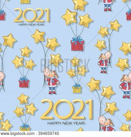 Calf. Pattern. Bull. New Year 2021. Vector Background, Seamless Template. Cute Little Calf With Ball
