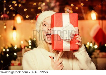 Thrilling Emotions. Merry Christmas And Happy New Year. Happy Smiling Woman And Gift Box. Boxing Day