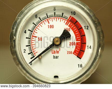 Pressure Gauge Scale. Car Tire Pressure. Industrial Measuring Instruments. No Pressure.