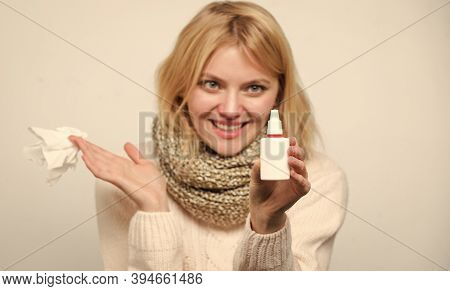 Breathing Easily. Treating Common Cold Or Allergic Rhinitis. Unhealthy Girl With Runny Nose Using Na