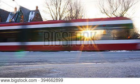 Winter Sun Shines Through Streetcar Window In Winter Time