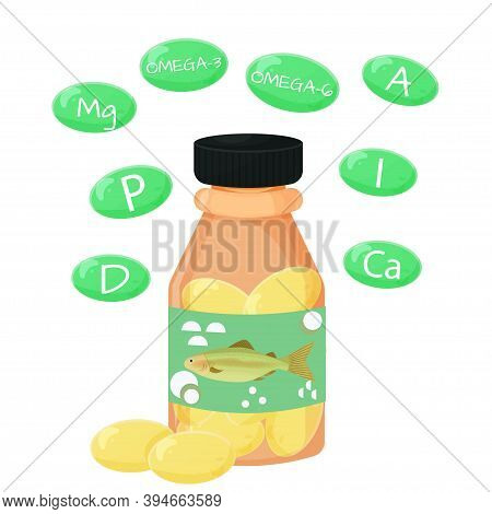 Container, Bottle With Pills Of Fish Oil, Fatty Acids And Vitamins That Contains Isolated On White B