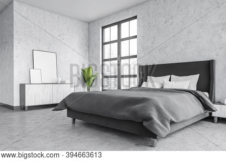 Grey Living Room With Blank Frames On The Table, Marble Floor And Bed With Linens. Light Grey Minima