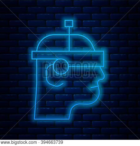 Glowing Neon Line Smart Glasses Mounted On Spectacles Icon Isolated On Brick Wall Background. Wearab