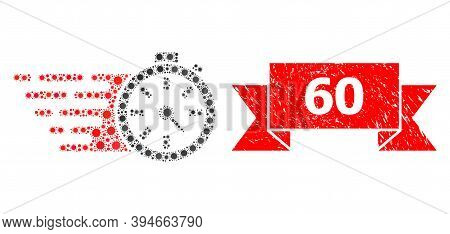 Vector Collage Timer Of Flu Virus, And 60 Textured Ribbon Stamp. Virus Cells Inside Timer Collage. R