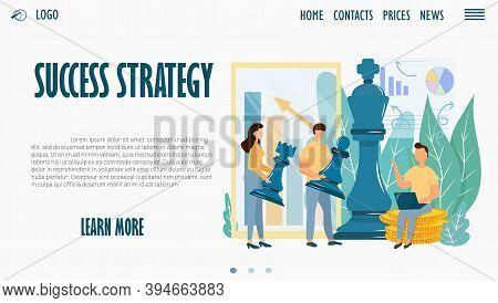 Web Site Design Template, Landing Page, Success Strategy. Stock Vector Illustration With Characters,