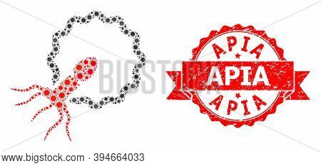 Vector Collage Virus Penetrating Cell Of Flu Virus, And Apia Grunge Ribbon Stamp Seal. Virus Element