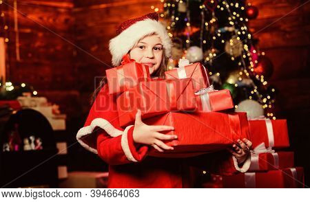 Fill Our Christmas With Joy And Cheer. Little Girl In Hat. Xmas Holiday. New Year Holiday. Santa Lit