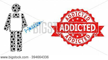 Vector Collage Vaccination Medic Of Corona Virus, And Addicted Textured Ribbon Seal. Virus Items Ins