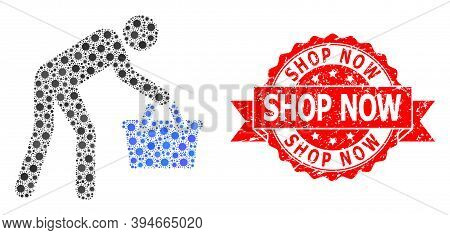 Vector Collage Tired Buyer Persona Of Corona Virus, And Shop Now Scratched Ribbon Stamp Seal. Virus