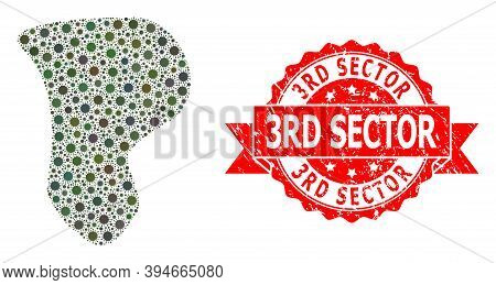 Vector Collage Spot Of Virus, And 3rd Sector Textured Ribbon Stamp. Virus Items Inside Spot Collage.
