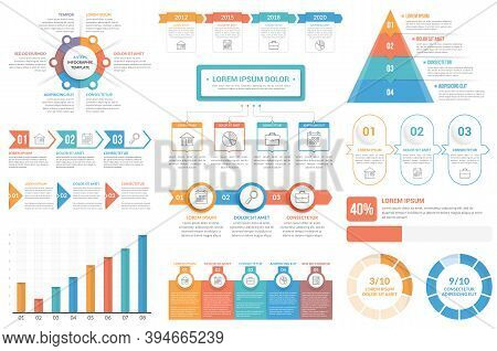 Infographic Elements - Circle Diagram, Timeline, Flowchart, Steps And Options, Bar Graph, Pyramid Ch