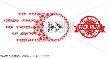 Vector Collage Play Forward Of Coronavirus, And Fair Play Grunge Ribbon Stamp Seal. Virus Cells Insi