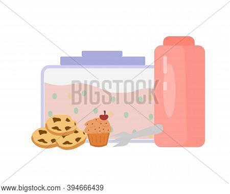 Lunch Box, Sweets And A Bottle Of Water, A Vector Graphics