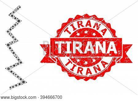 Vector Mosaic Zigzag Line Of Virus, And Tirana Unclean Ribbon Seal. Virus Items Inside Zigzag Line M