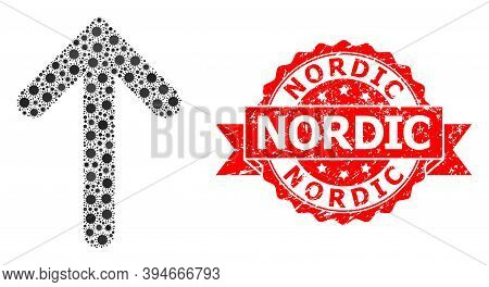 Vector Collage Up Arrow Of Flu Virus, And Nordic Unclean Ribbon Stamp Seal. Virus Elements Inside Up