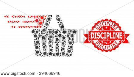 Vector Collage Shopping Basket Of Flu Virus, And Discipline Rubber Ribbon Seal Print. Virus Particle
