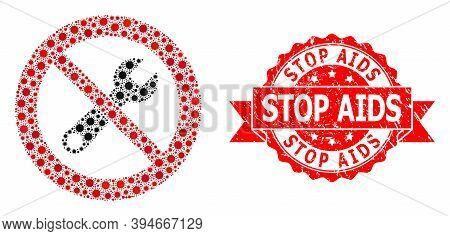 Vector Mosaic Stop Repair Of Corona Virus, And Stop Aids Unclean Ribbon Stamp Seal. Virus Elements I