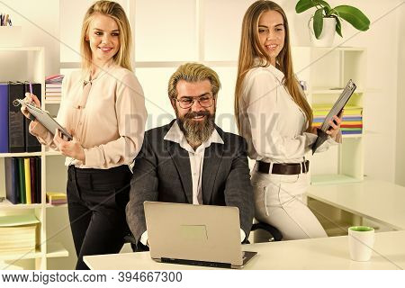 Flirting With Boss. Man And Women Business Colleagues. Office Flirt. Career Company. Flirting And Se
