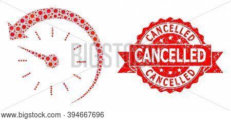 Vector Mosaic Time Backward Of Sars Virus, And Cancelled Dirty Ribbon Seal. Virus Cells Inside Time
