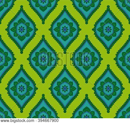Seamless Pattern With Arabesque Drawings. Arabesque Textile Print. Vector Illustration.