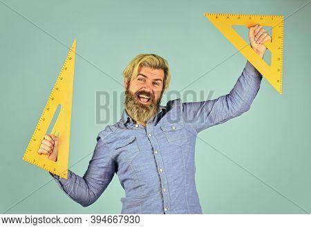 Formula. Education At School. Home Learning Concept. Man Teacher Use Triangle Tool. Bearded Tutor Ma