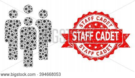Vector Mosaic Staff Of Sars Virus, And Staff Cadet Scratched Ribbon Stamp Seal. Virus Items Inside S