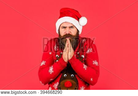 Cold Weather. Holiday Season Mood. Bearded Man Santa Hat. Merry Christmas. Christmas Sale. Winter Is