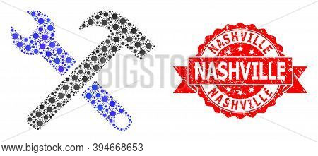 Vector Collage Service Tools Of Flu Virus, And Nashville Rubber Ribbon Seal Imitation. Virus Particl