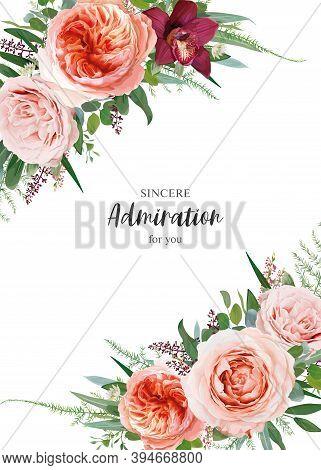 Vector Floral Wedding Invite, Invitation Card Design. Beautiful Blush Peach, Pale Coral, Dusty Pink
