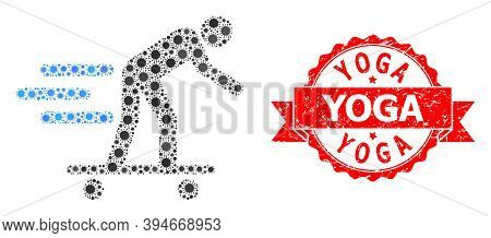 Vector Mosaic Scate Roller Man Of Covid-2019 Virus, And Yoga Scratched Ribbon Stamp. Virus Elements