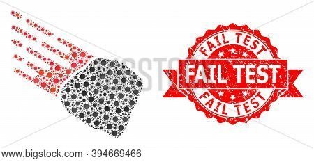 Vector Mosaic Stone Meteorite Of Virus, And Fail Test Scratched Ribbon Seal Imitation. Virus Element