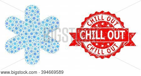 Vector Collage Simple Snowflake Of Covid-2019 Virus, And Chill Out Scratched Ribbon Seal. Virus Item