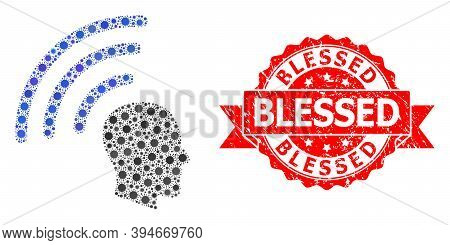 Vector Collage Telepathy Waves Of Flu Virus, And Blessed Scratched Ribbon Stamp Seal. Virus Items In